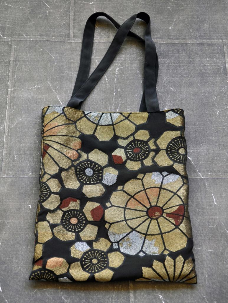 Sac-tissus-brocart-or-obi-japonais-boutique-accessoires-Carouge-Geneve-Hangel