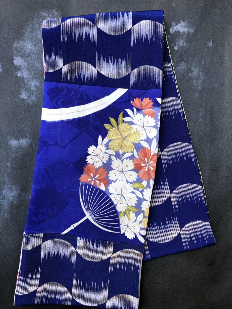 Echarpe-tube-fleurs-kaki-soie-imprime-kimono-ancien-boutique-accessoire